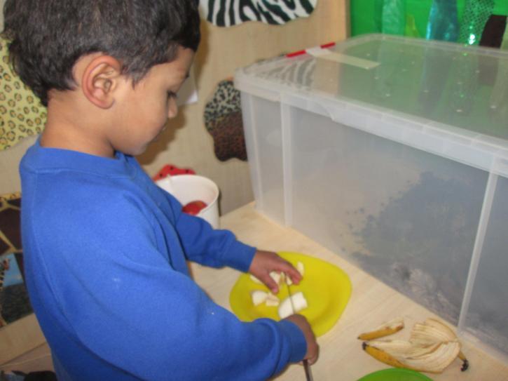 Jaydem practising his knife skills