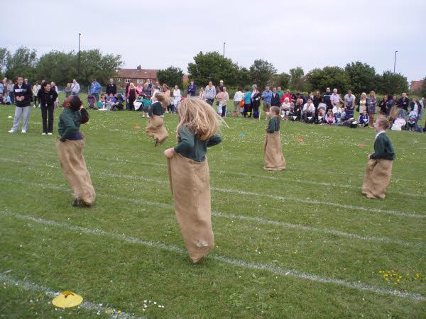 The children enjoyed doing the sack race