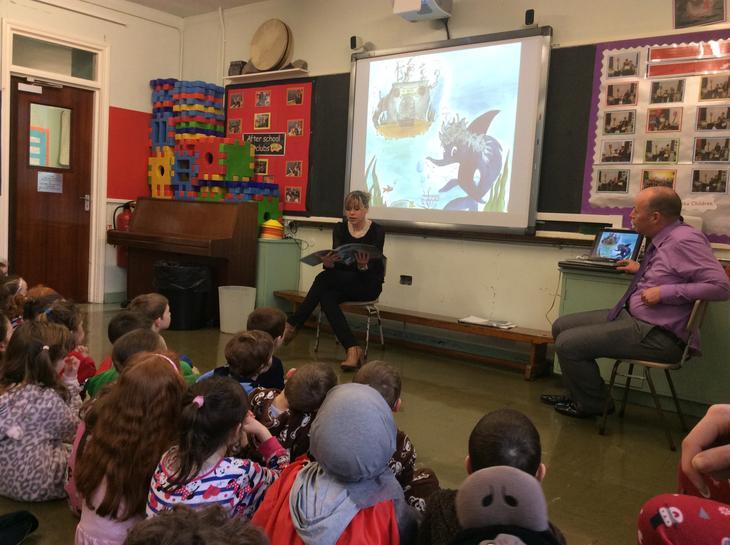 Oonagh read Joseph The Hairy Shark to us.