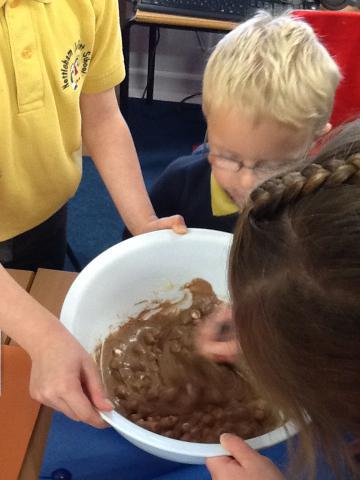 Adding flour and cocoa