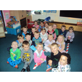 Here we all are in our pyjamas!